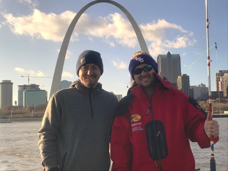 Dr Chris Holderman (Central Life Sciences) and Dr Swale in front of the St Louis Arch at ESA meeting 2019