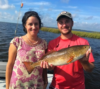 Dr. Radmila Frydrychova from Czech Academy of Sciences with her first Louisiana redfish