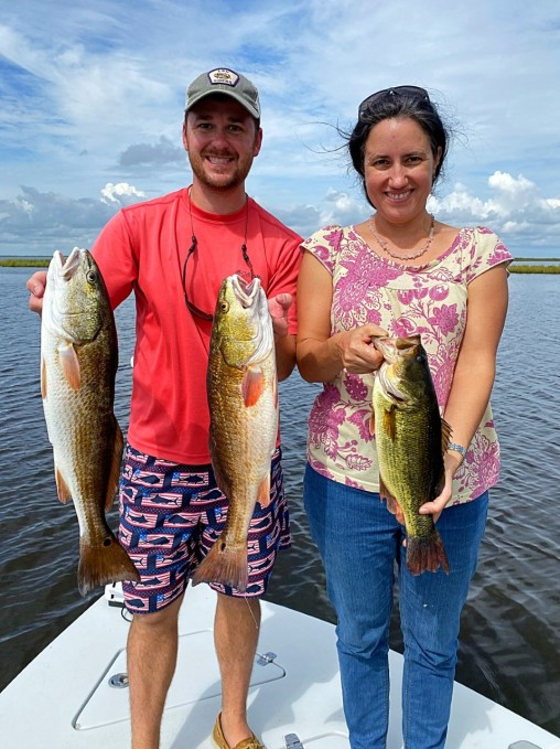 Louisiana redfish and largemouth bass.