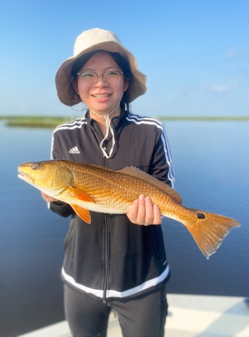 Rui Chen with her first redfish
